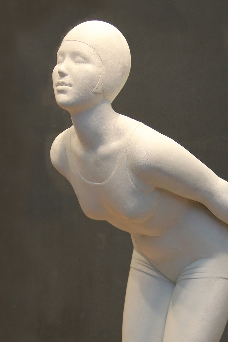 Sculpture of female diver by Karen Newman