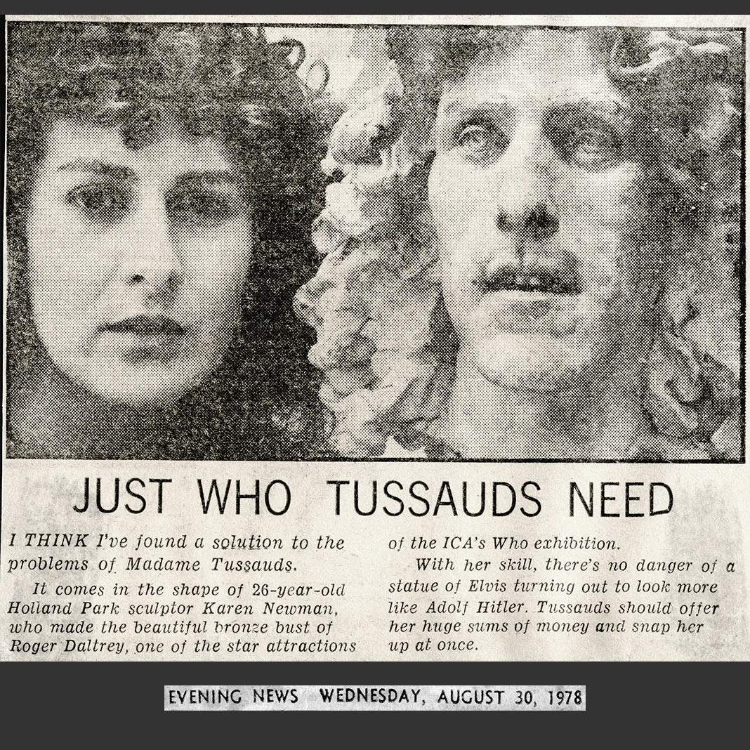 "Newspaper article of sculpture of Roger Daltrey of 'The Who' by Karen Newman ""Just who Tussauds need"""